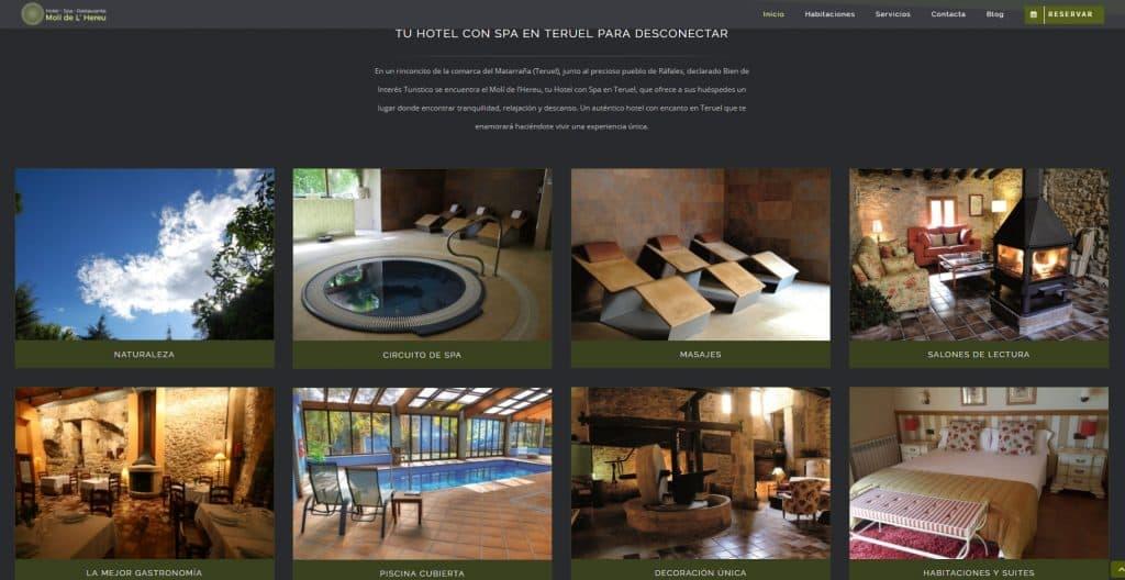 Proyecto web para hoteles - Hotel Spa con encanto - Hotel Molí del Hereu